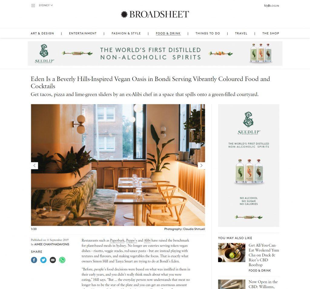 Eden design article on Broadsheet